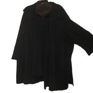 Black textured button blouse mock shell top 3XL